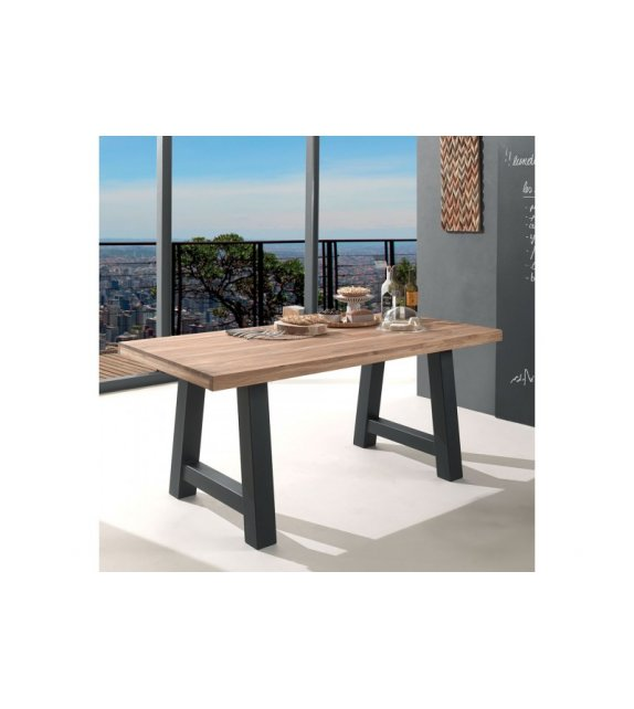 Table de repas ROBINSON en pin et pieds Noirs - CASITA