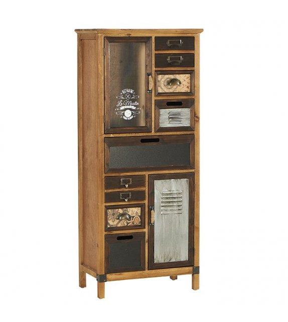 Armoire déco 8 tiroirs 2 portes avec étagères - New
