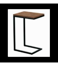 Bout de canape metal noir et plateau effet noyer (30x40xH.60cm) - Opjet